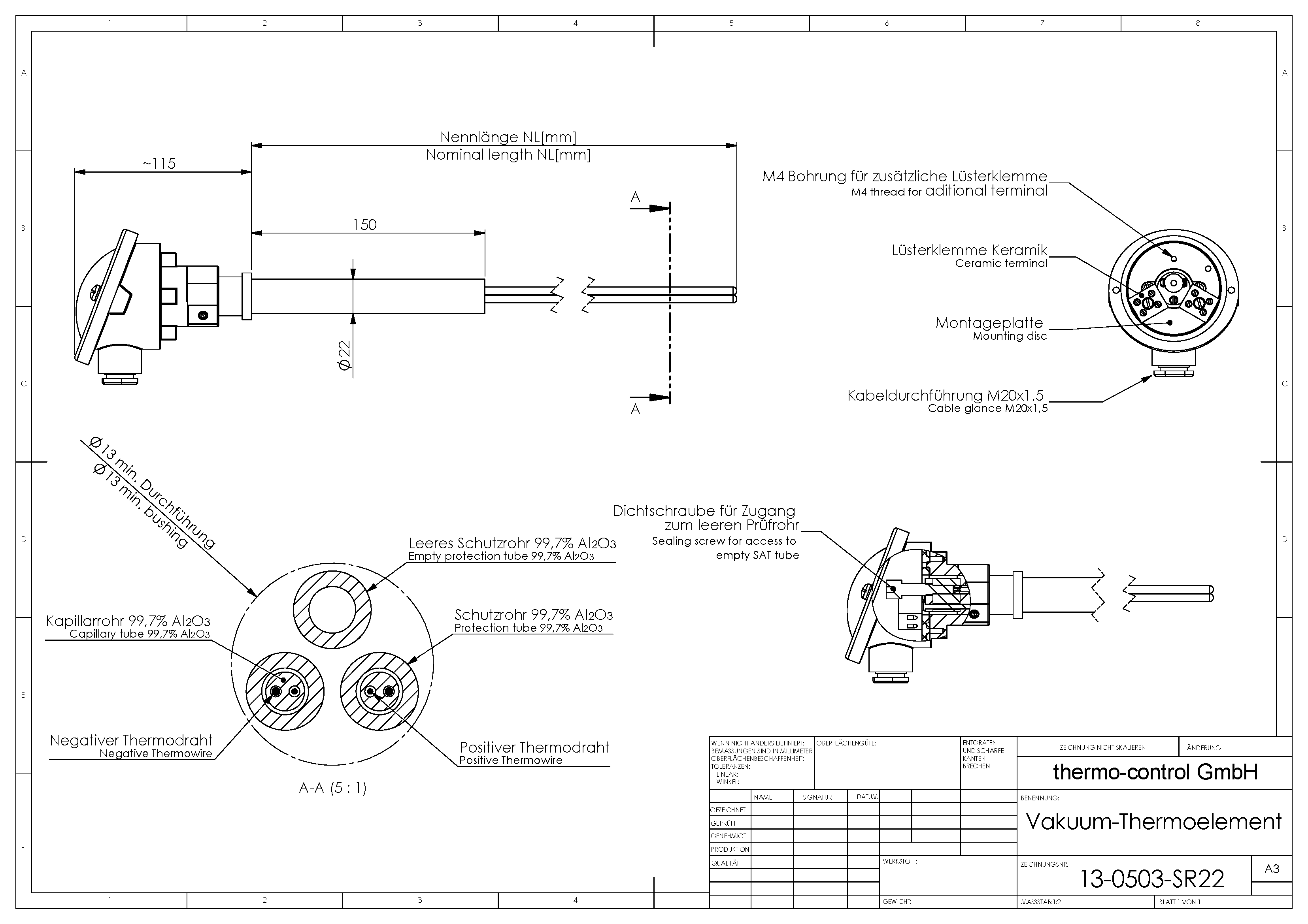 Drawing Vacuum-Thermocouple with 22x150 steel tube