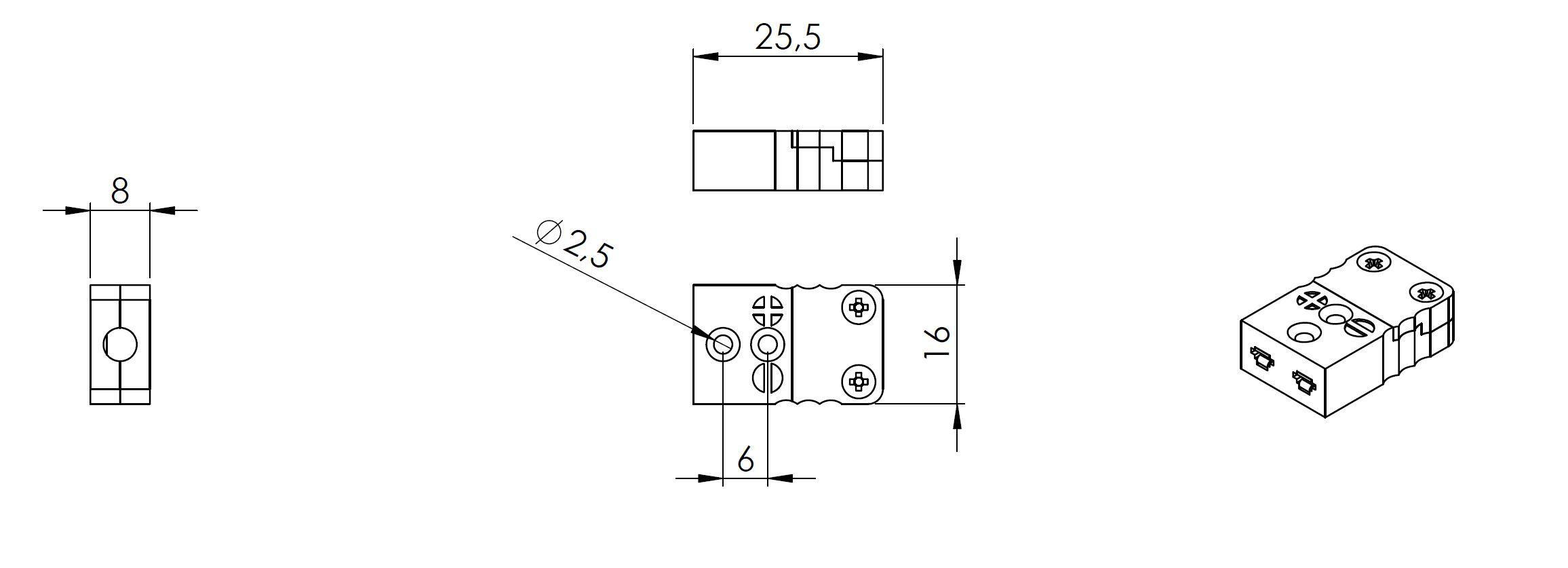 Abmessung Miniaturkupplung